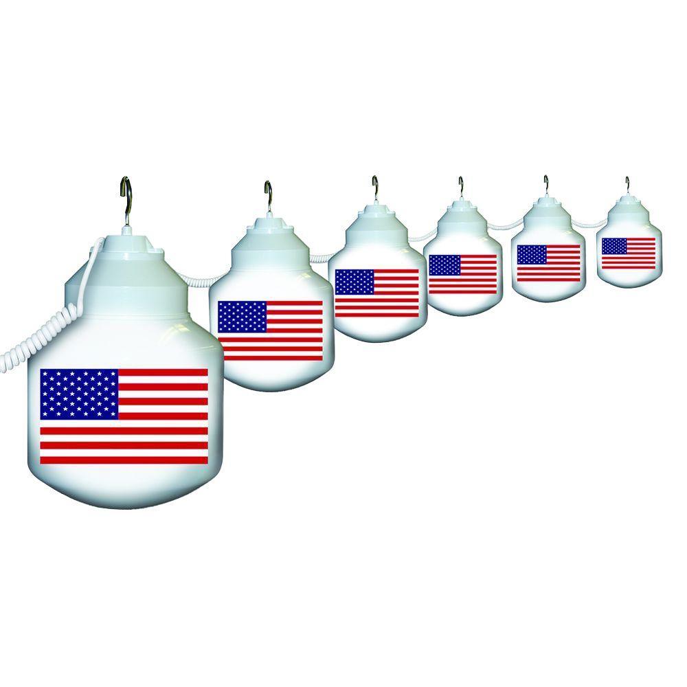 6-Light Outdoor White American Flag String Light Set