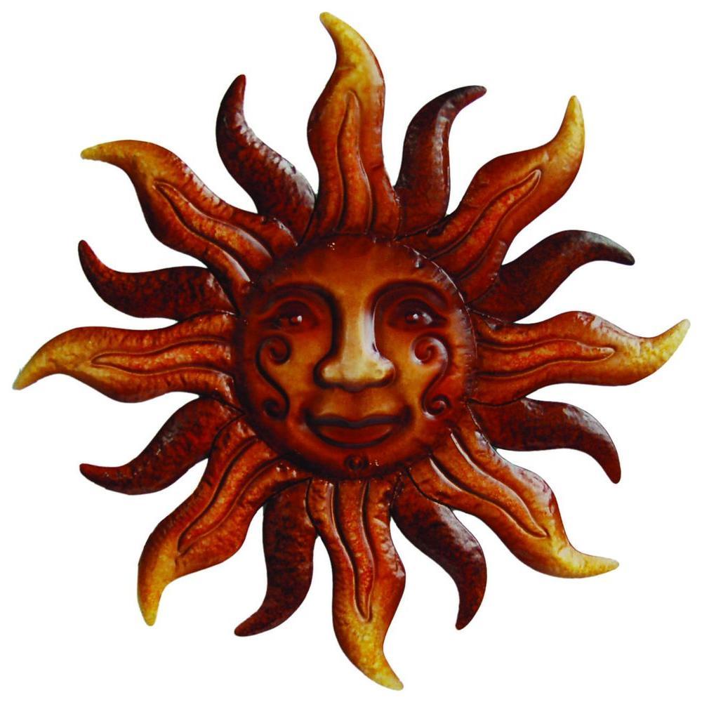 20 in. Dia Metal Bronze Sunface Wall Art
