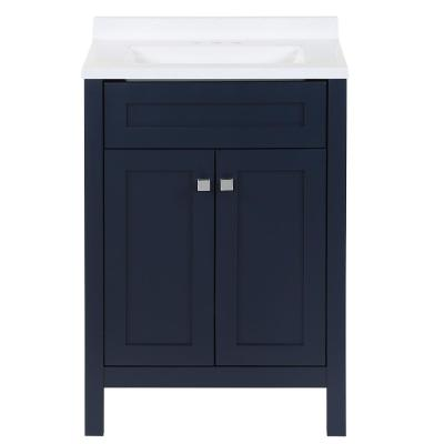 Maywell 24.5 in. W x 18.75 in. D x 37.7 in. H Bath Vanity in Blue with Solid Surface Vanity Top in Snow with White Sink