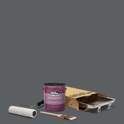 1 gal. #N500-6 Graphic Charcoal Extra Durable Eggshell Enamel Int. Paint & 5-Piece Wooster Set All-in-One Project Kit
