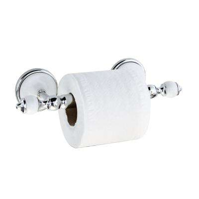 ARORA Toilet Paper Holder with Stainless Steel Roller in White Porcelain and Polished Chrome