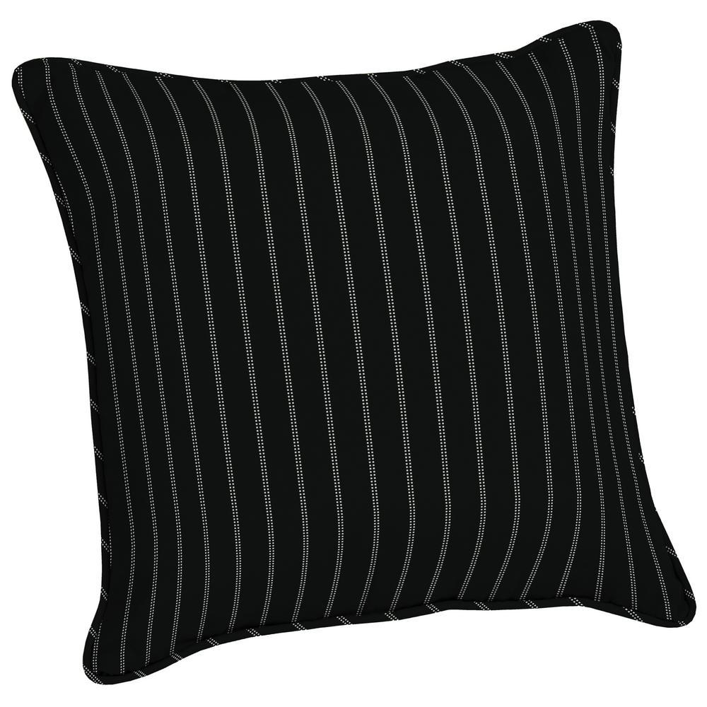 Arden Selections Acrylic 20 In Black Ticking Stripe Throw Pillow Ah1e528b D9z1 The Home Depot