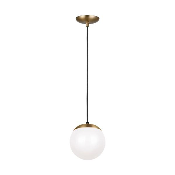 Leo Hanging Globe 8 in. 1-Light Satin Bronze Pendant with Smooth White Glass with LED Bulb