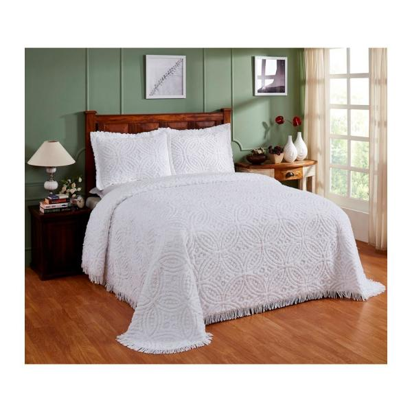 Wedding Ring 102 In X 110 In White Queen Bedspread