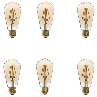 25W Equivalent Vintage ST58 Edison Dimmable LED Light Bulbs (6-Pack)