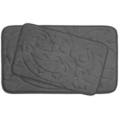 Pelton Dark Gray 20 in. x 32 in. Memory Foam 2-Piece Bath Mat Set