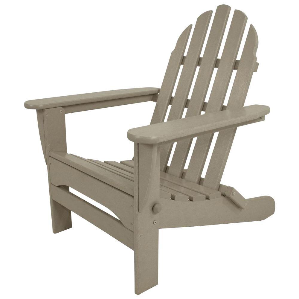 Classic Sand Plastic Patio Adirondack Chair