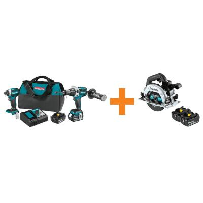 18V LXT Brushless 2-Piece Combo Kit with Bonus 18V LXT 5.0Ah Battery, 2-Pack and 18V LXT Brushless 6-1/2 in. Circ Saw