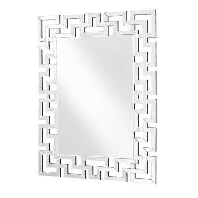Emory 37.5 in. Contemporary Rectangle Mirror with Clear MDF Frame, Rectangle Shape, Mounting Type: D Ring
