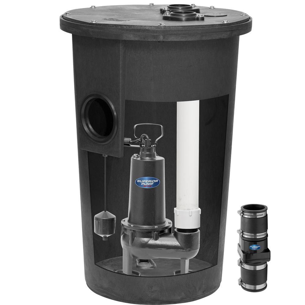 Superior Pump 1/2 HP Sewage Pump Kit with Basin
