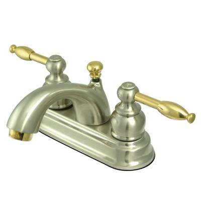 Knight 4 in. Centerset 2-Handle Bathroom Faucet in Brushed Nickel and Polished Brass