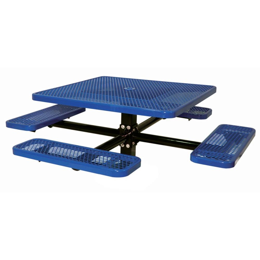 Ultra Play 46 in. Diamond Blue Commercial Park Square Table Inground Mount
