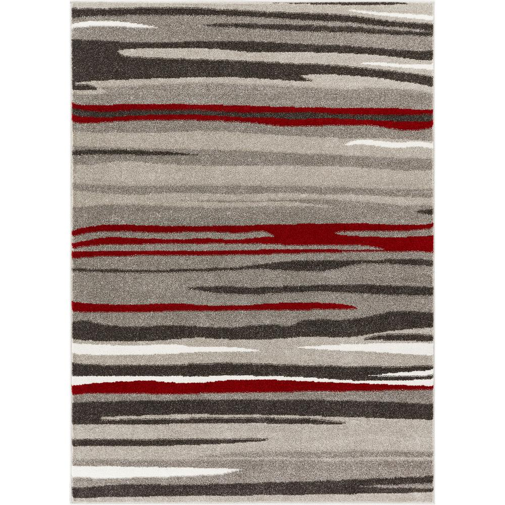 Well Woven Serenity Oscar Red Modern Abstract Lines 3 Ft 11 In X 5