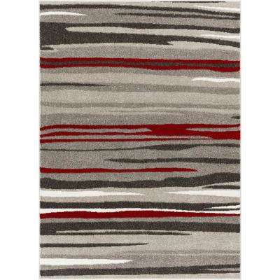 Serenity Oscar Red Modern Abstract Lines 7 ft. 10 in. x 9 ft. 10 in. Area Rug