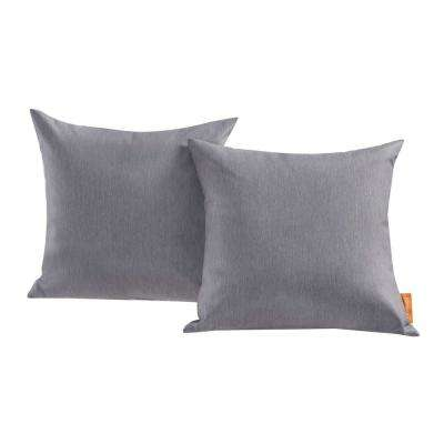 Convene Patio Square Outdoor Throw Pillow Set in Gray (2-Piece)