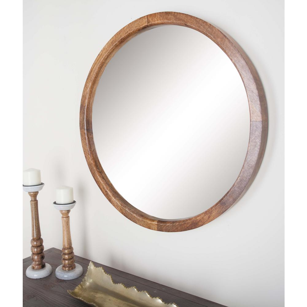 30 in round natural brown framed wall mirror 77126 the for Mirror with mirror border