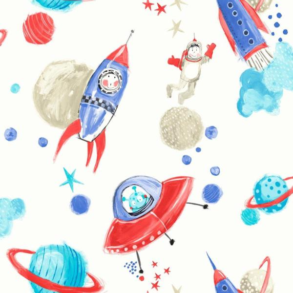 Starship Blue/White Paper Strippable Wallpaper (Covers 57 sq. ft.)
