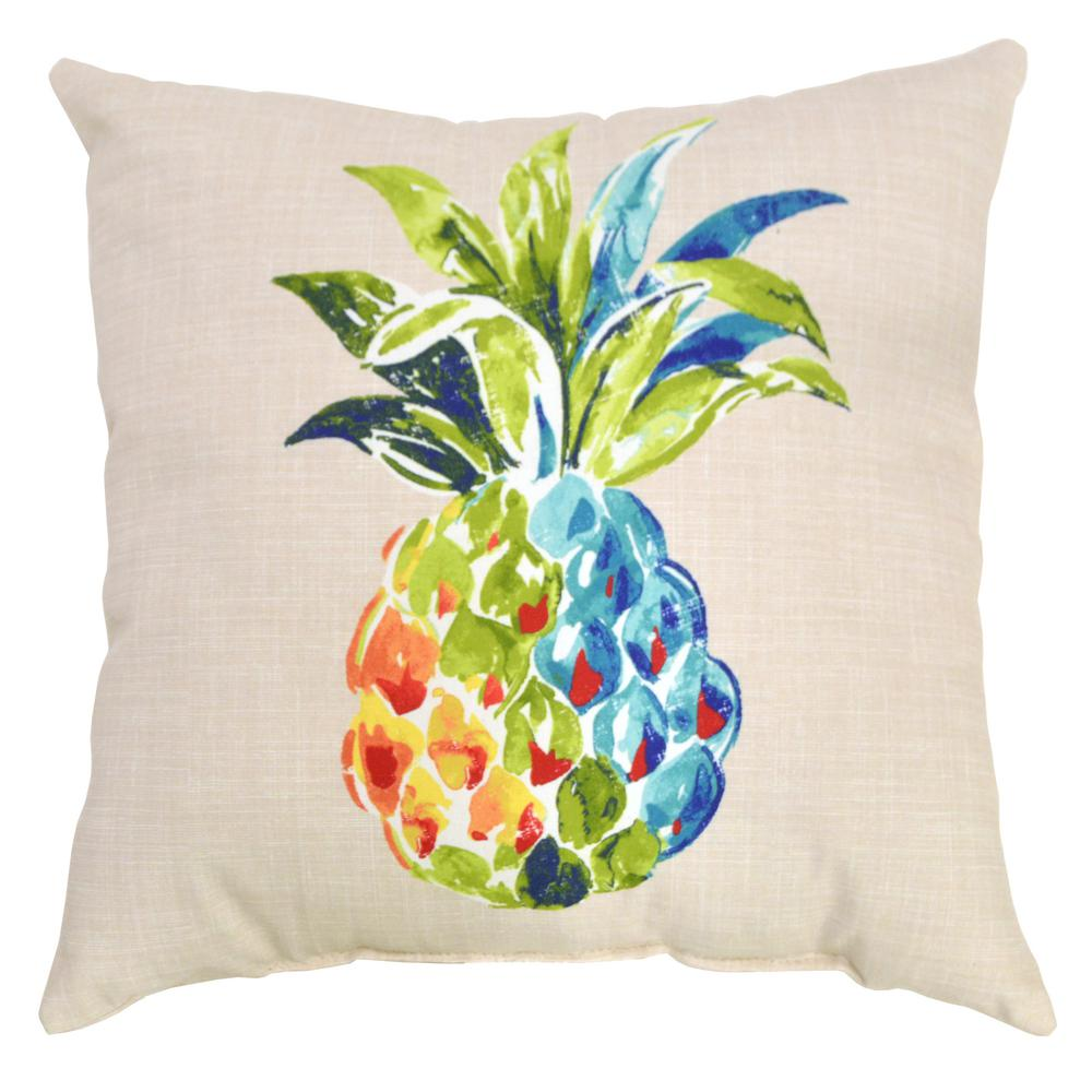 Hampton Bay Palmetto Pineapple Square Outdoor Throw Pillow