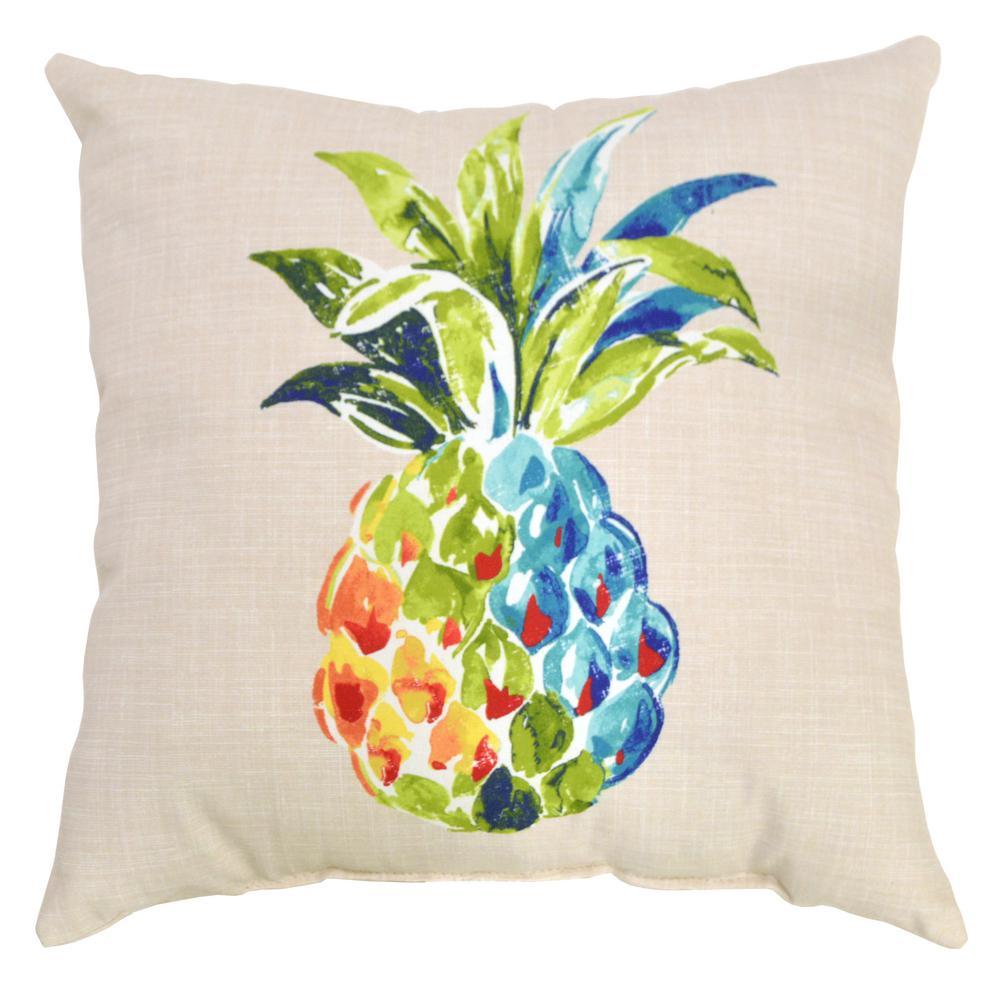 Palmetto Pineapple Square Outdoor Throw Pillow