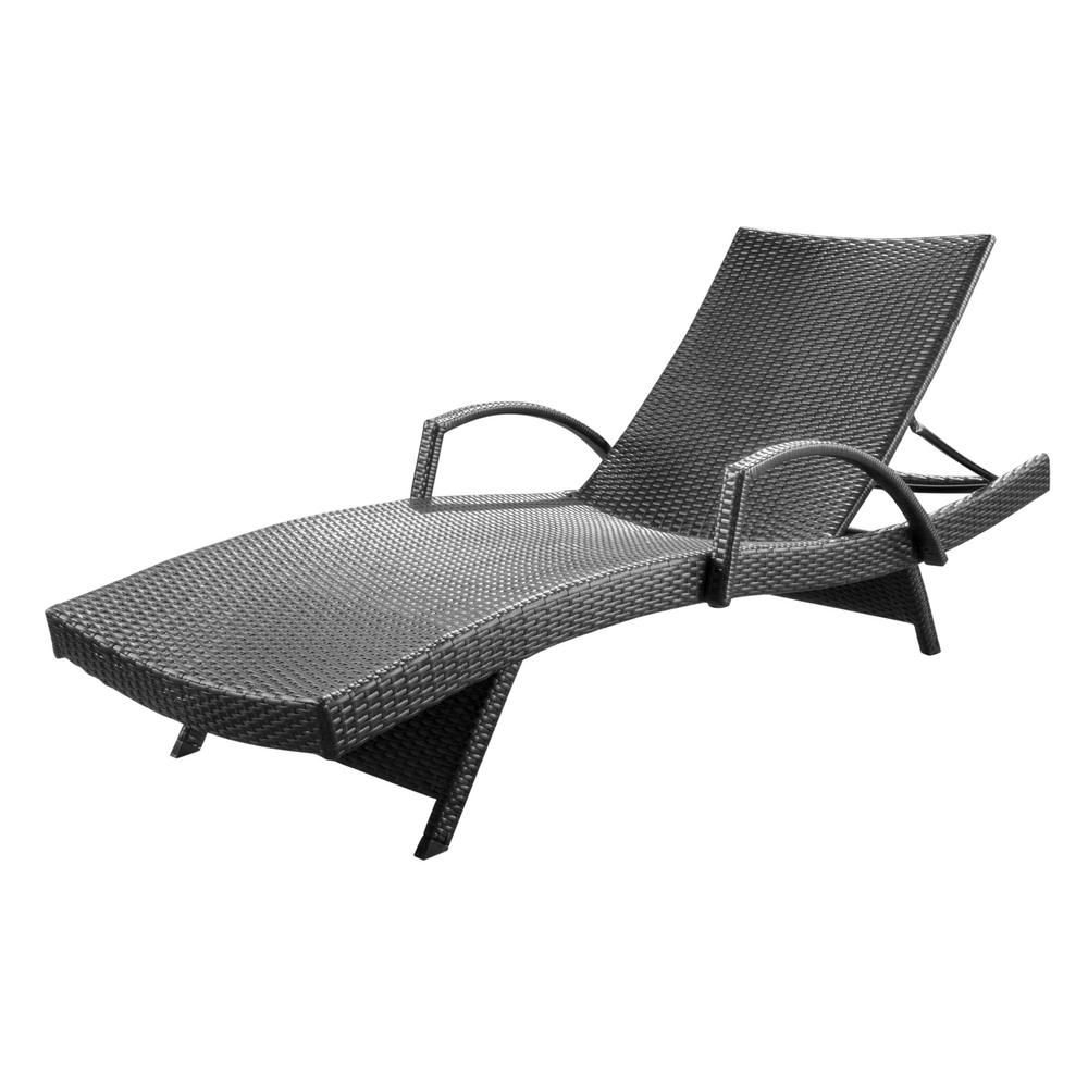 Noble House Miller Grey 1-Piece Wicker Outdoor Chaise Lounge with Armrest