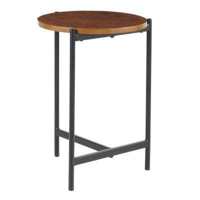 Chloe Contemporary Side Table in Black with Walnut Wood Top