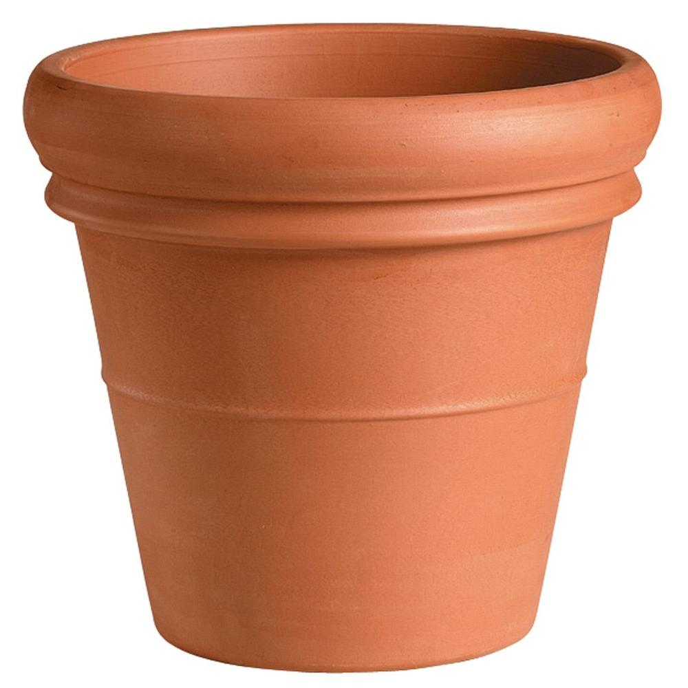 20 in. Round Terra Cotta Heavy Rim Clay Pot