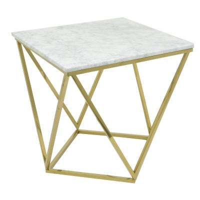 21.5 in. Gold Metal/Marble End Table