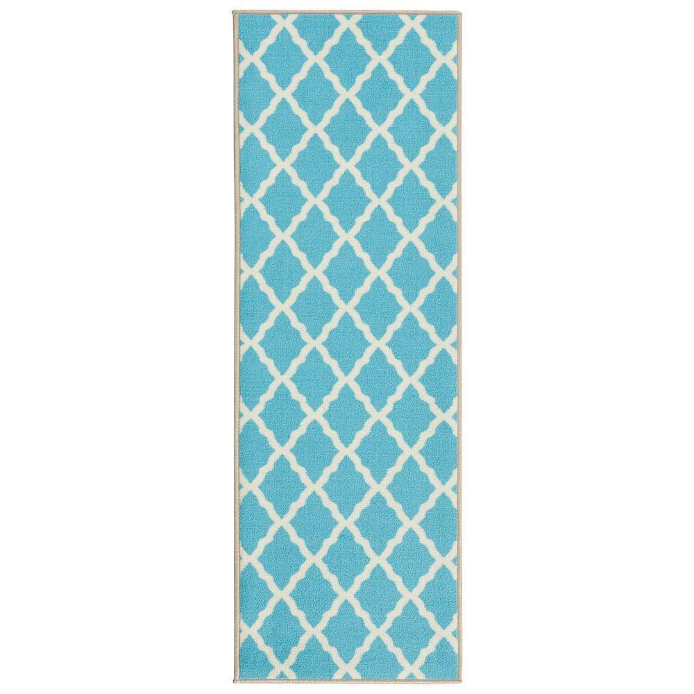 Pink Collection Contemporary Moroccan Trellis Design Blue 2 ft. x 6