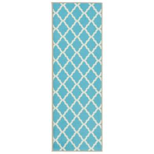 Glamour Collection Contemporary Moroccan Trellis Design Blue 2 ft. x 6 ft. Kids Runner Rug