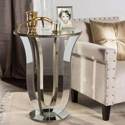 Kylie Glam Silver Metallic Finished End Table
