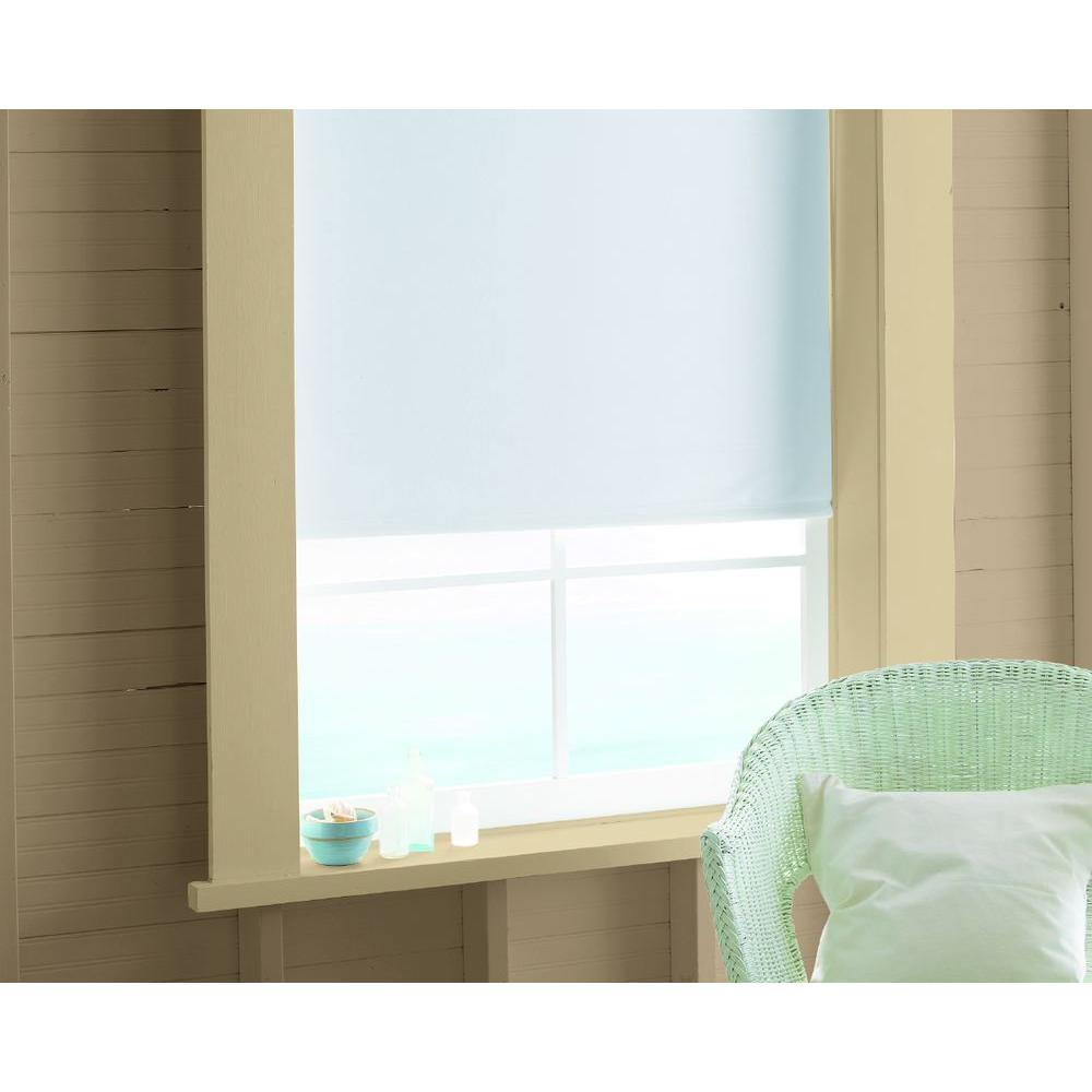 Bali Cut-to-Size White Cordless 12 mm Blackout Vinyl Roller Shade - 73.25 in. W x 78 in. L