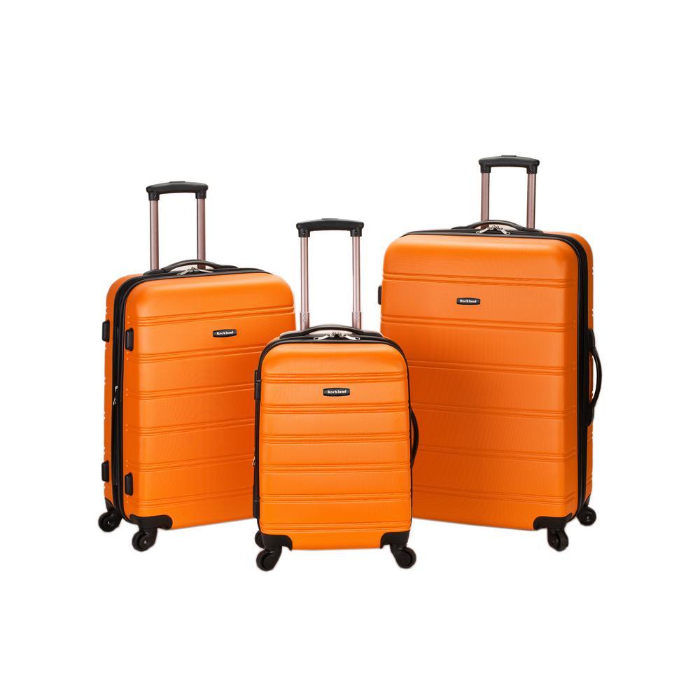 Rockland Melbourne 3-Piece Hardside Spinner Luggage Set, Orange