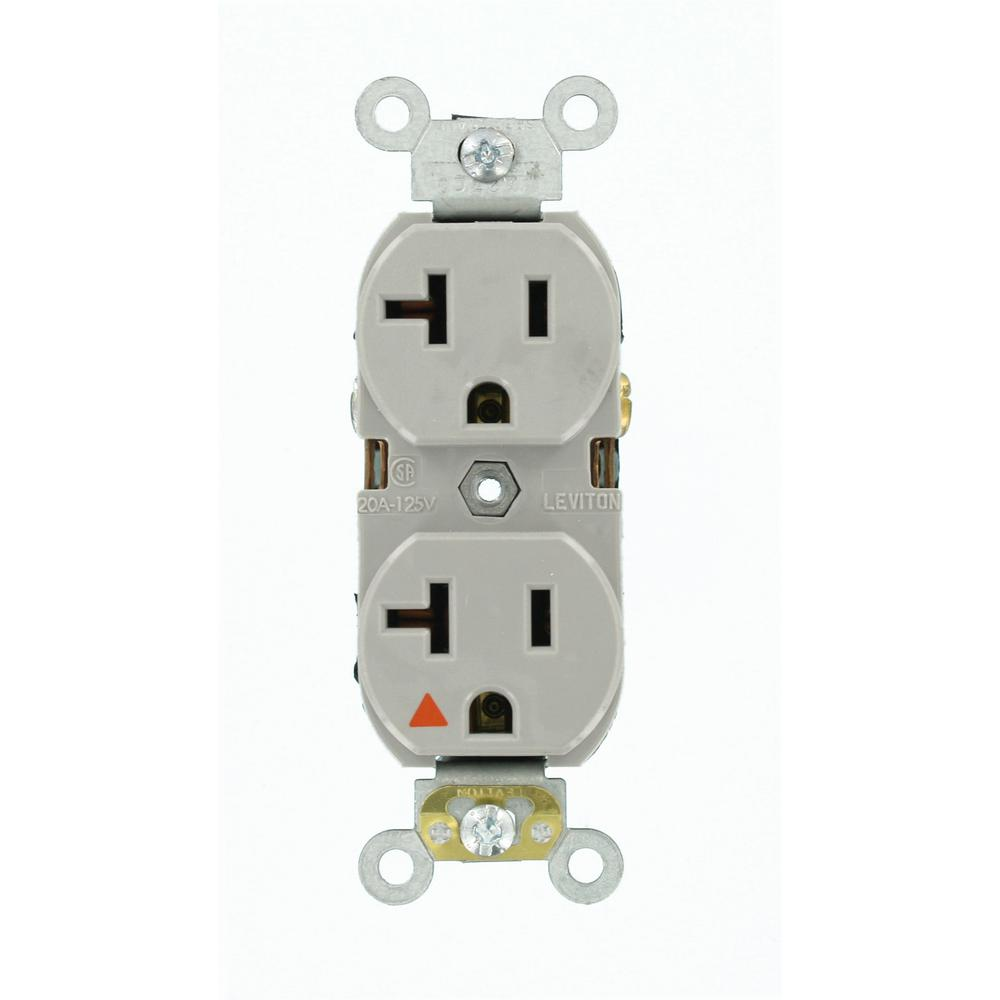 20 Amp Industrial Grade Heavy Duty Isolated Ground Duplex Outlet, Gray