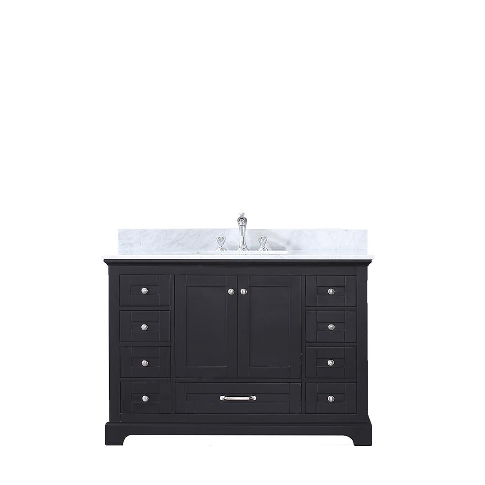 Lexora Dukes 48 in. Single Bath Vanity in Espresso with White Carrera Marble Vanity Top with White Square Sink