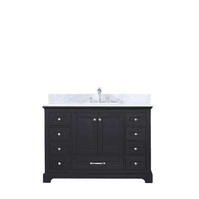 Dukes 48 in. Single Bath Vanity in Espresso with White Carrera Marble Vanity Top with White Square Sink