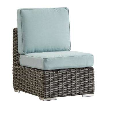 Camari Charcoal Wicker Armless Middle Outdoor Sectional Chair with Blue Cushion