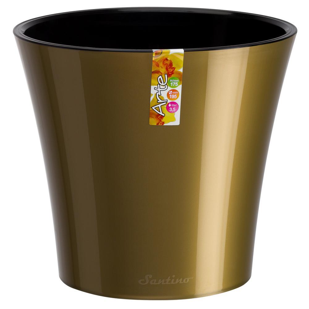 Arte 8.6 in. Gold/Black Plastic Self Watering Planter
