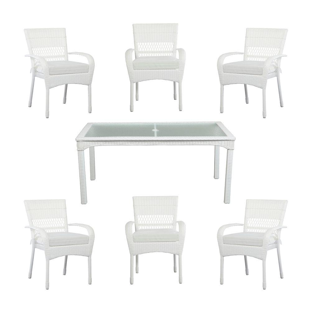 Great Martha Stewart Living Charlottetown White All Weather 7 Piece Wicker Patio  Dining Set With