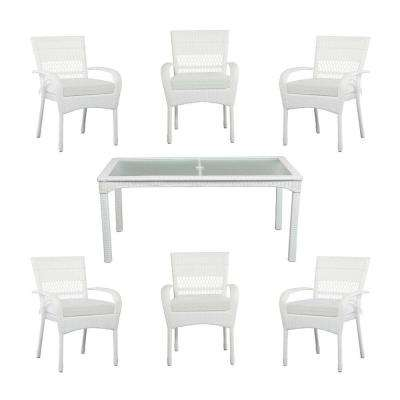 Charlottetown White All-Weather 7-Piece Wicker Patio Dining Set with Cushion Insert (Slipcovers Sold Separately)