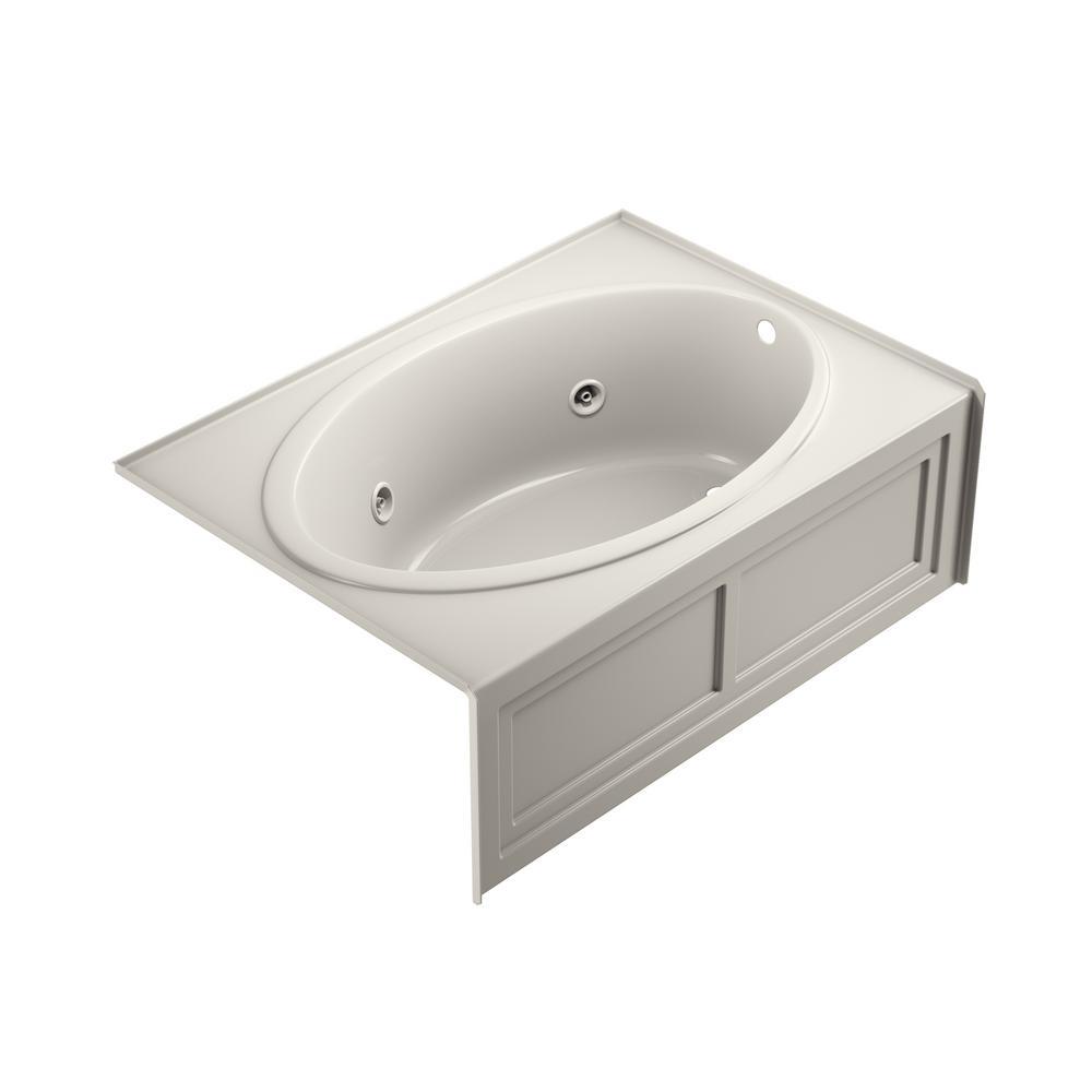 NOVA 60 in. x 42 in. Acrylic Right-Hand Drain Rectangular Alcove Whirlpool Bathtub in Oyster