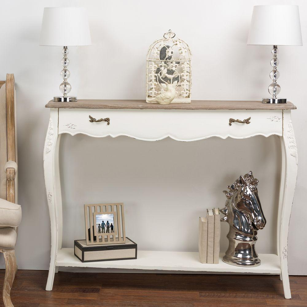 Bourbannis White and Light Brown Console Table