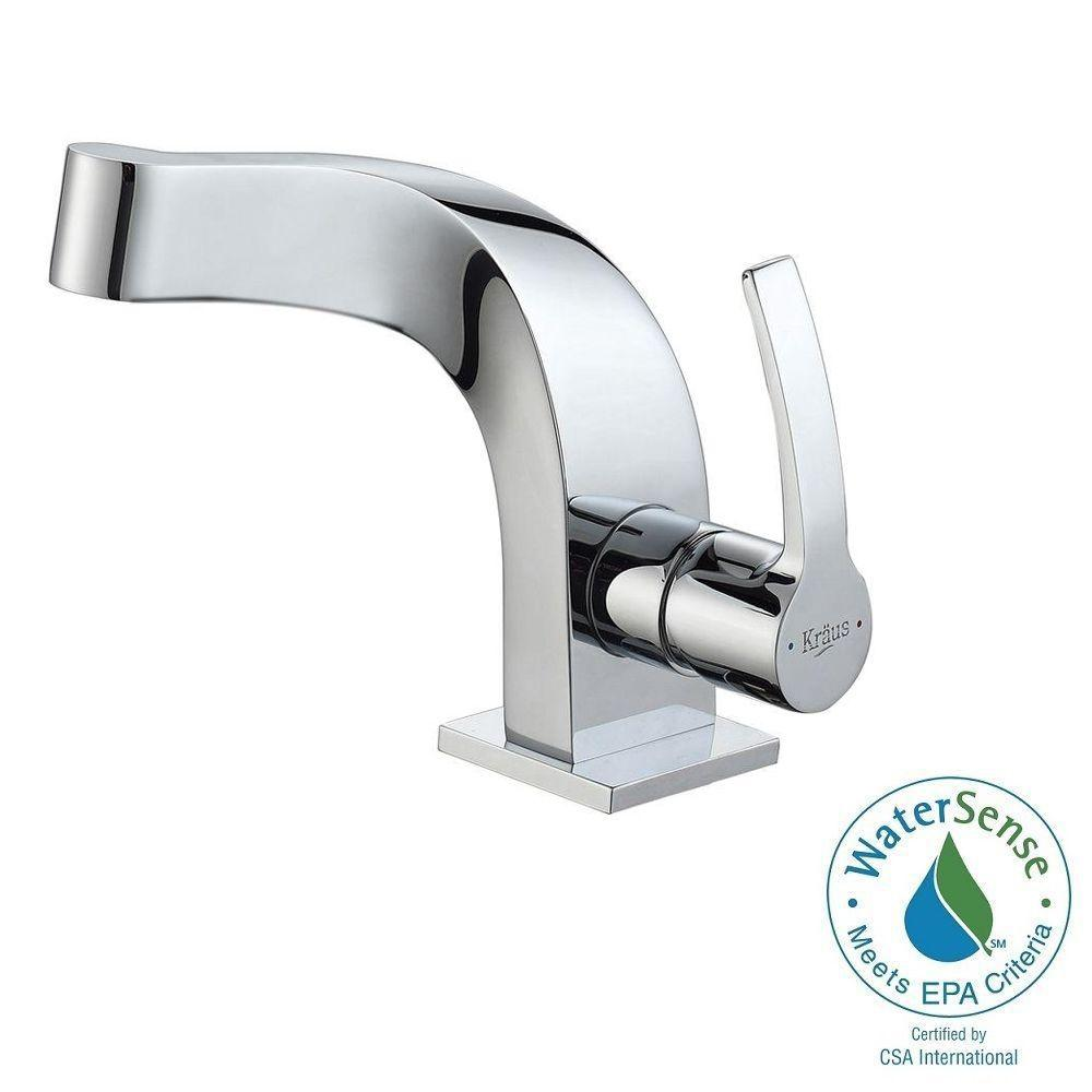 KRAUS Typhon Single Hole Single-Handle Mid-Arc Bathroom Faucet in Chrome
