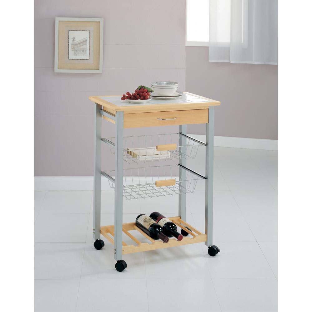Neu Home Natural Kitchen Cart With Baskets