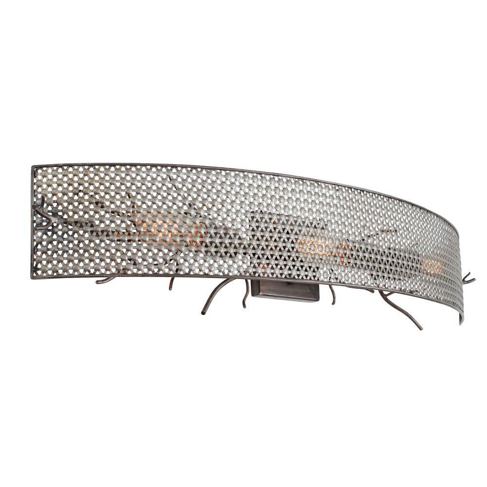 Treefold 3-Light Steel Bath Vanity Light with Recycled Steel Mesh