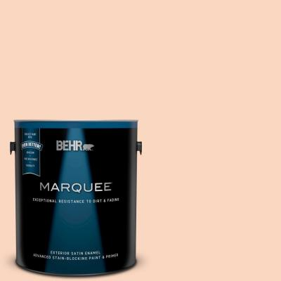 Behr Marquee 1 Gal 170c 2 Creamy Peach Satin Enamel Exterior Paint And Primer In One 945001 The Home Depot