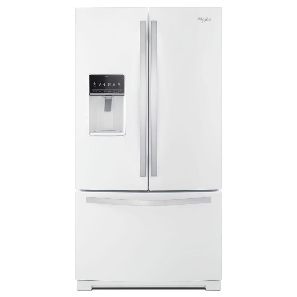 Whirlpool white ice counter depth french door - Whirlpool 36 In W 27 Cu Ft French Door Refrigerator In White Ice