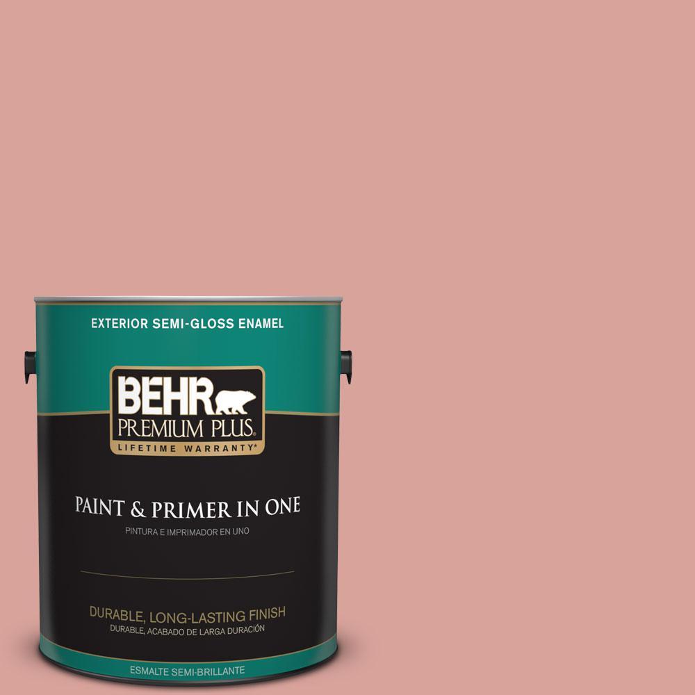 BEHR Premium Plus 1-gal. #PMD-70 Cottage Rose Semi-Gloss Enamel Exterior Paint