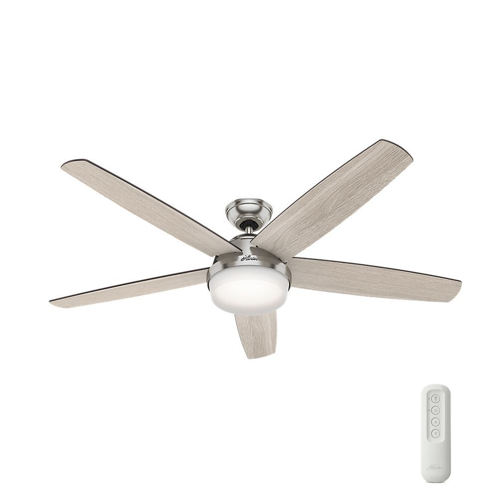 Hunter remote control included ceiling fans lighting the led indoor brushed nickel ceiling fan aloadofball Images