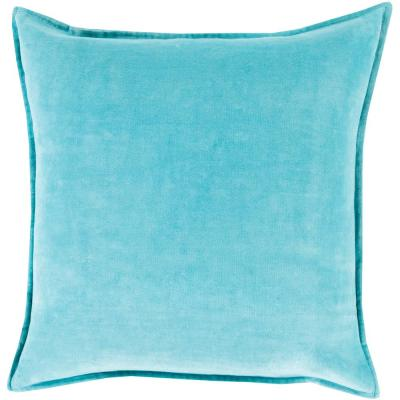 Velizh Aqua Solid Polyester 19 in. x 20 in. Throw Pillow