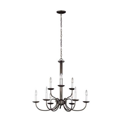 Holman 9-Light Heirloom Bronze Chandelier with Dimmable Candelabra LED Bulb
